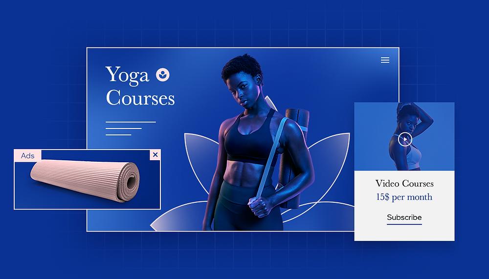 Ansicht eines Online-Shops für Sport Accessoires in Blau als Visualisierung für die die Customer Journey