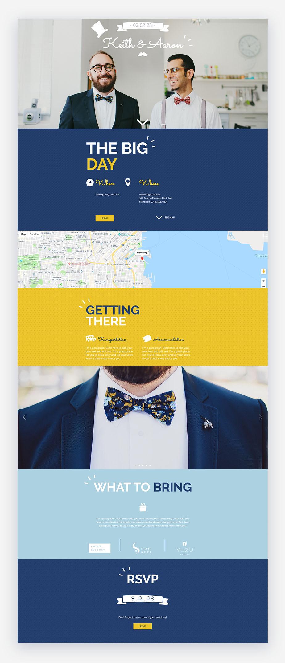 esempio di sito per matrimonio wix con due ragazzi