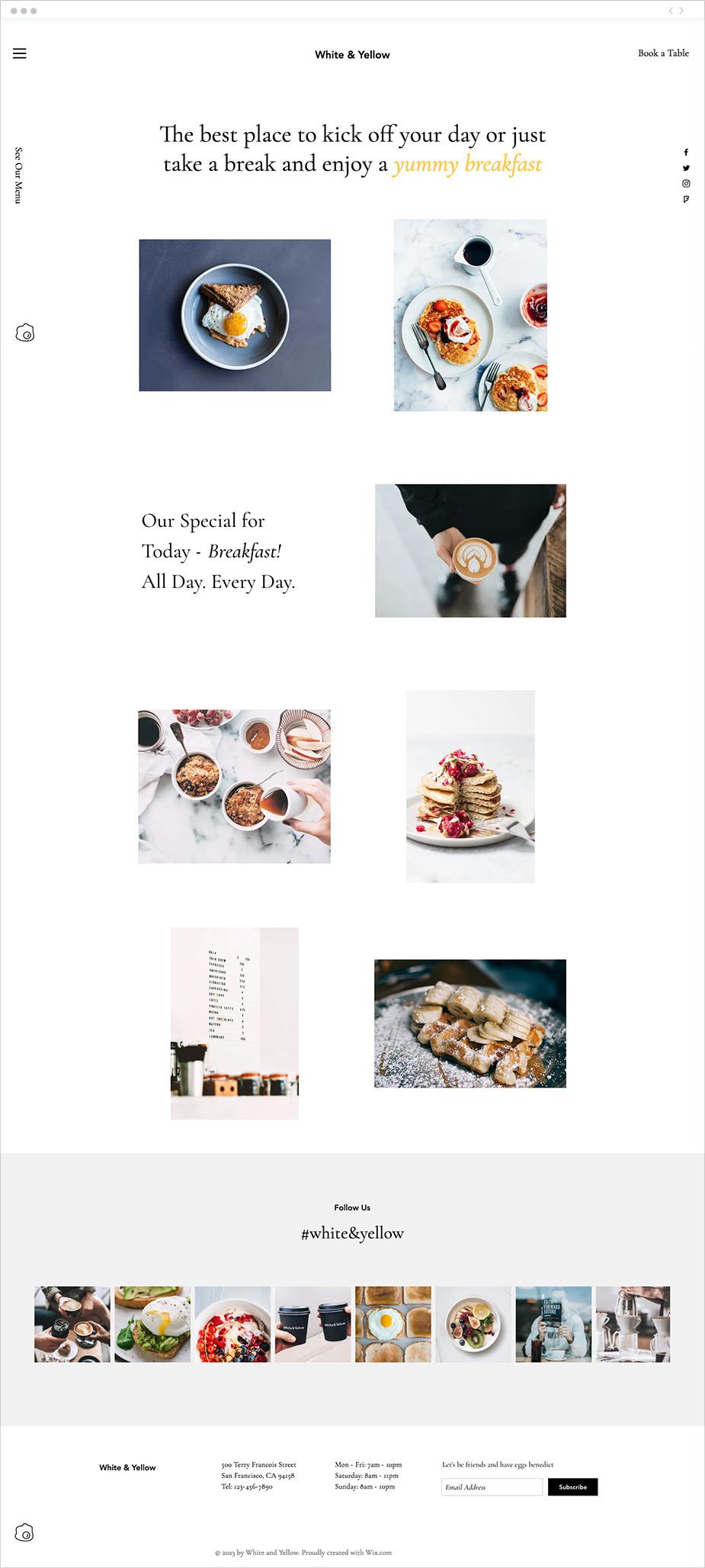 Template sito web bar per colazioni