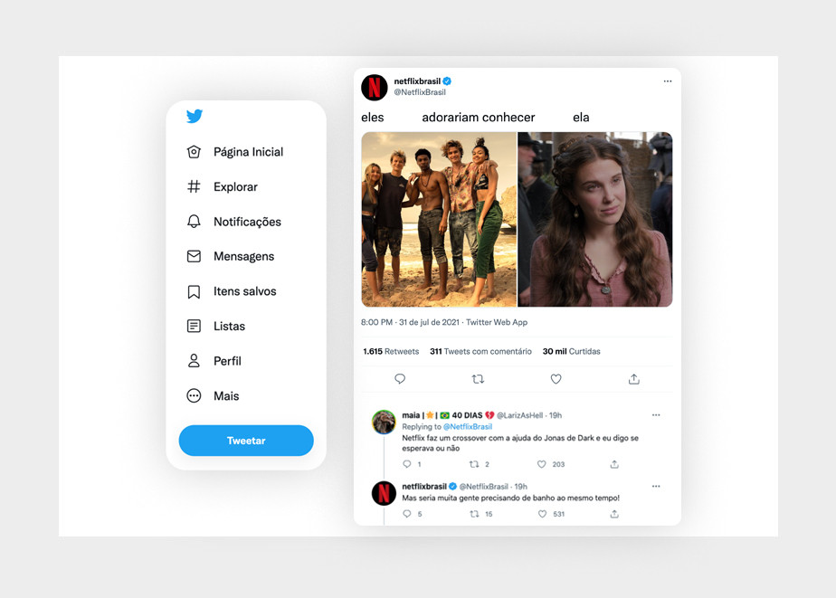 Exemplo de interação criativa e divertida no Twitter por parte da Netflix Brasil