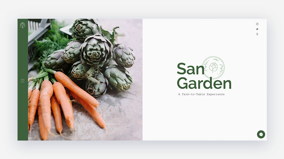 Exemplo de página inicial de site de mercado gourmet