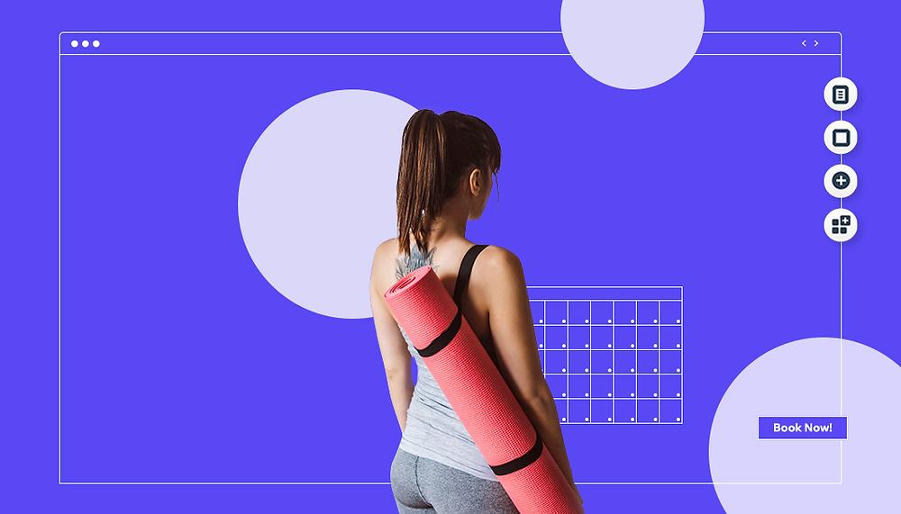 Frau mit Yogamatte vor bleu-lila Hintergrund