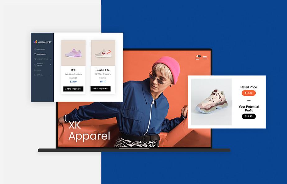 Ansicht eines Online-Shops der Schuhe verkauft als Beispiel für Firmengründung