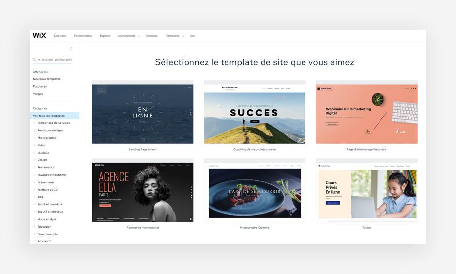 Liste des templates disponibles sur wix.com en français