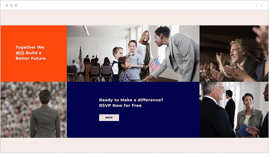 Тренды веб-дизайна 2020 — цвет, оранжевый, синий, флаг США