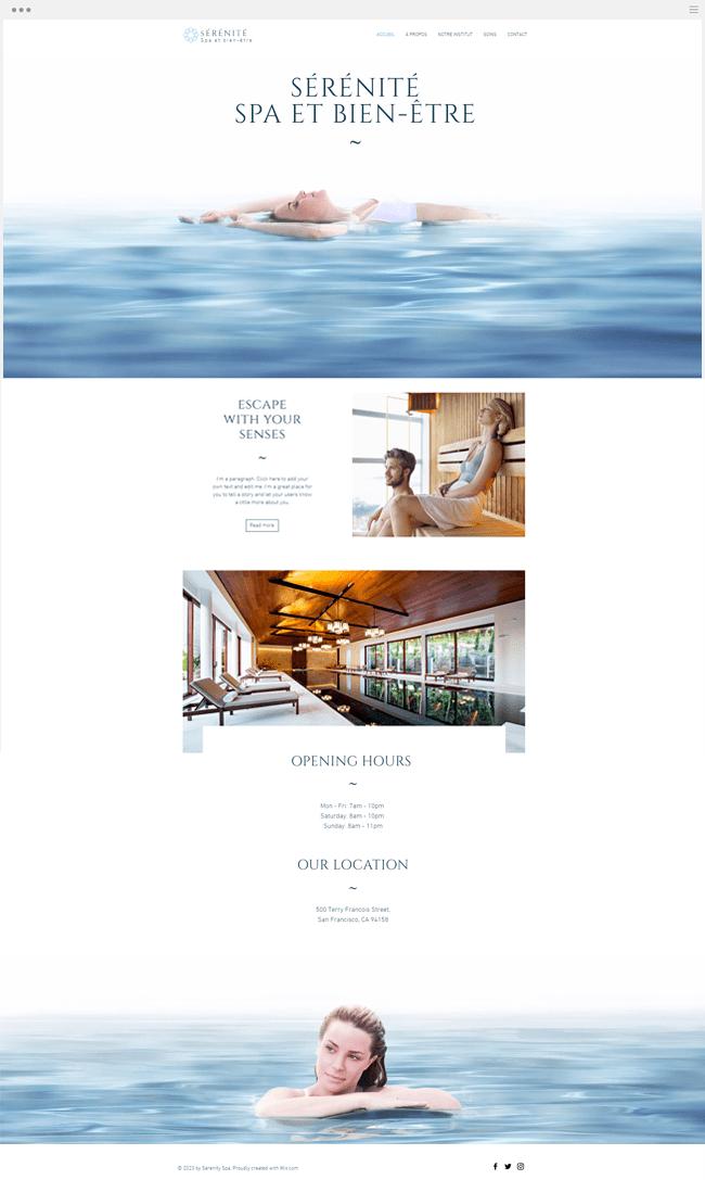 Template gratuit site spa salon de beauté massage sérénité