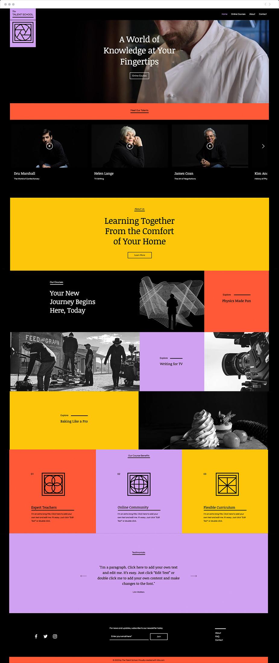 Template sito web per corsi online