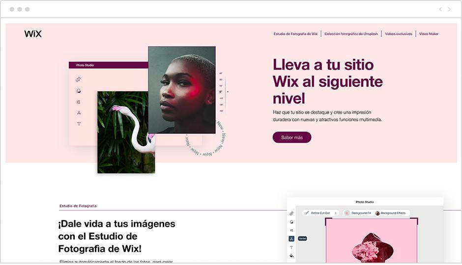 Landing page de funciones multimedia Wix