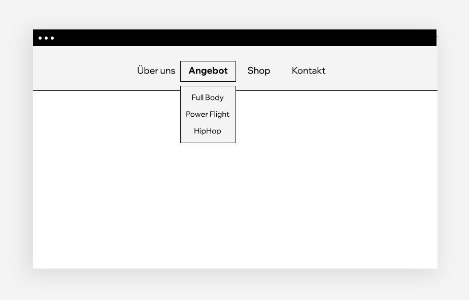 Ansicht eines Dropdown-Menüs auf einem leeren Website-Mockup