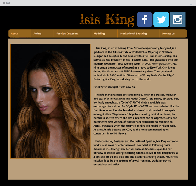 официальный сайт Isis King