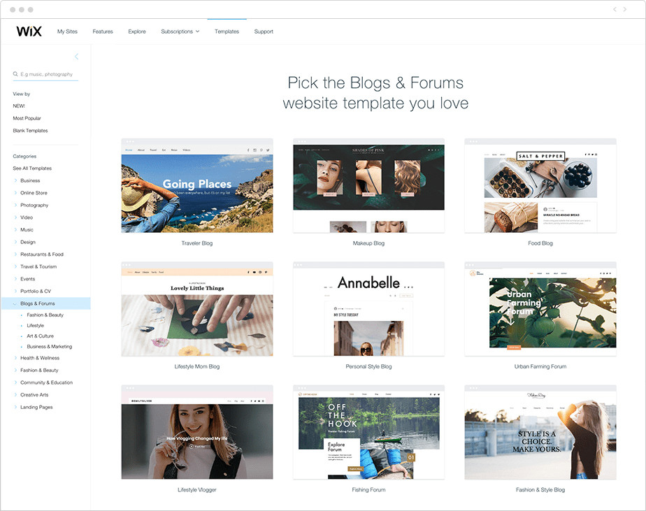 templates for wix blog