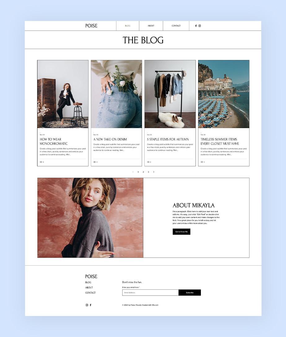 패션과 여행을 전문으로 하는 블로거의 블로그 웹사이트 이미지
