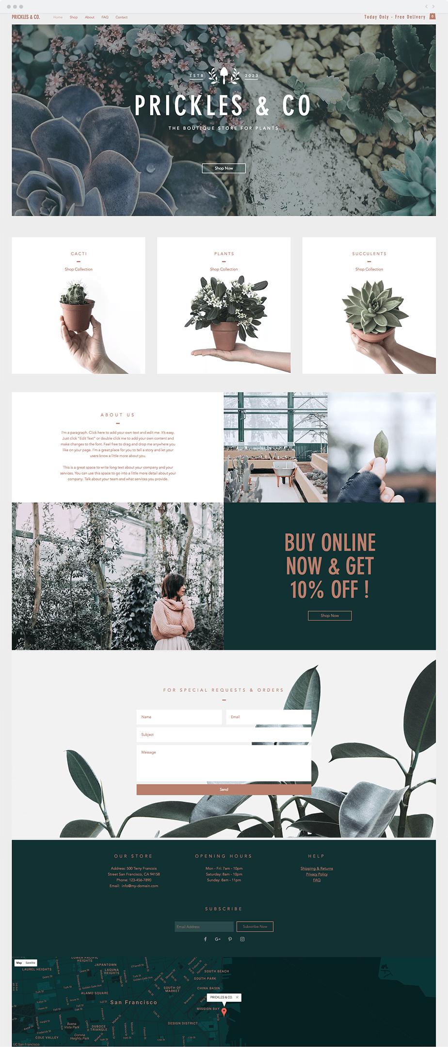 Template boutique de plantes