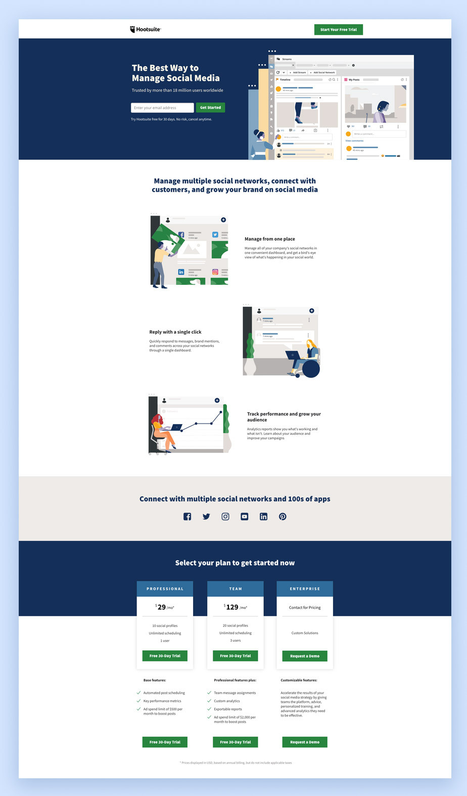 Landing page di Hootsuite