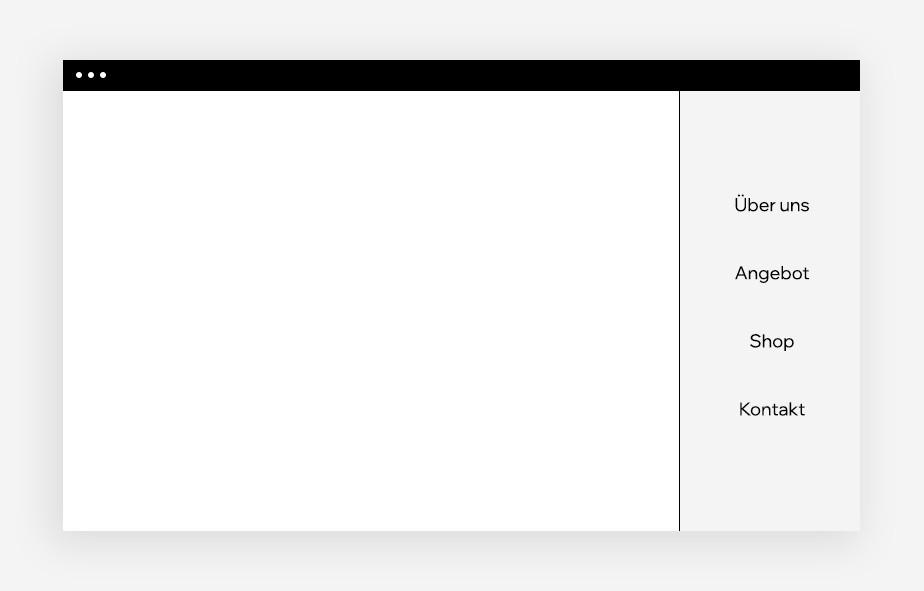 Ansicht eines Sidebar-Menüs auf einem leeren Website-Mockup