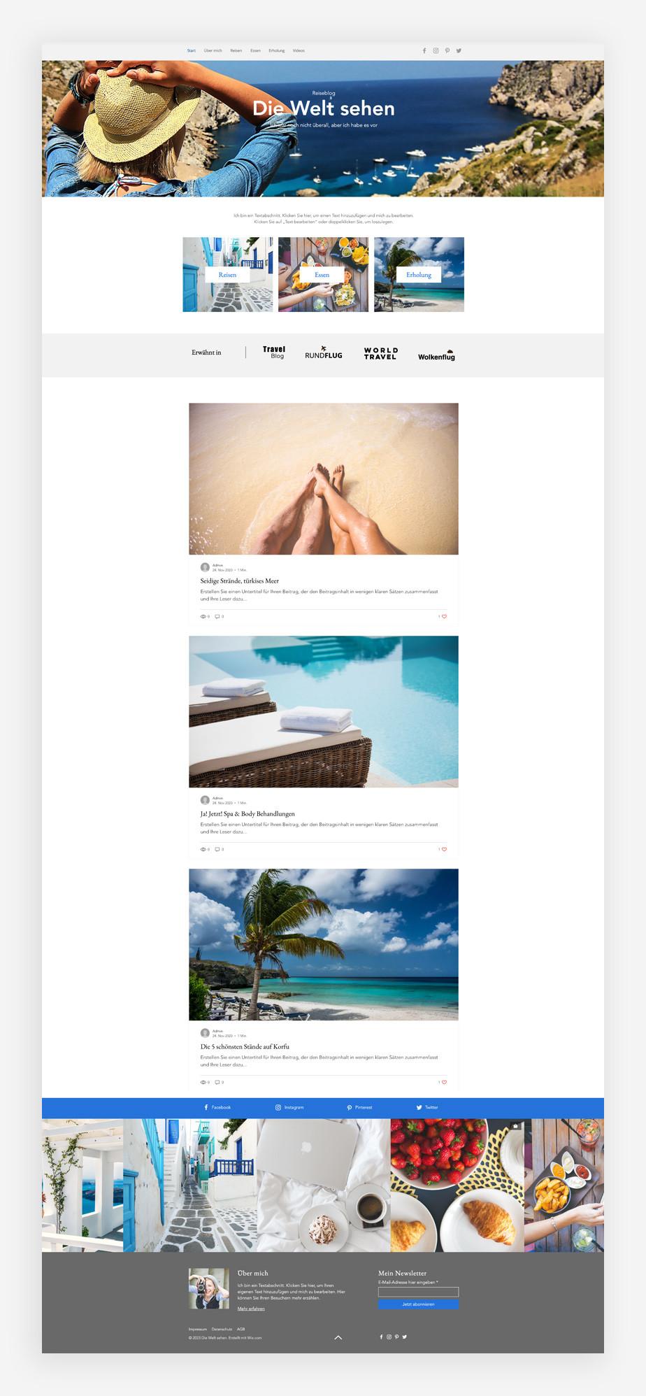 Blog Template von Wix für einen Reiseblog