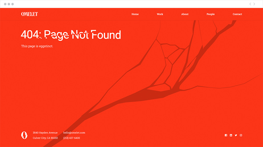 Omelet 404 page design
