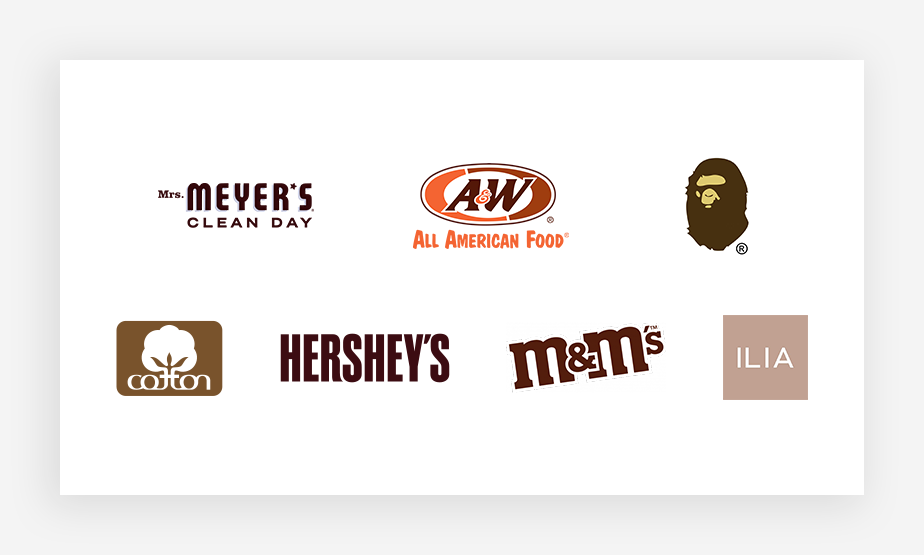 kolory logo – kolekcja znanych brązowych logo