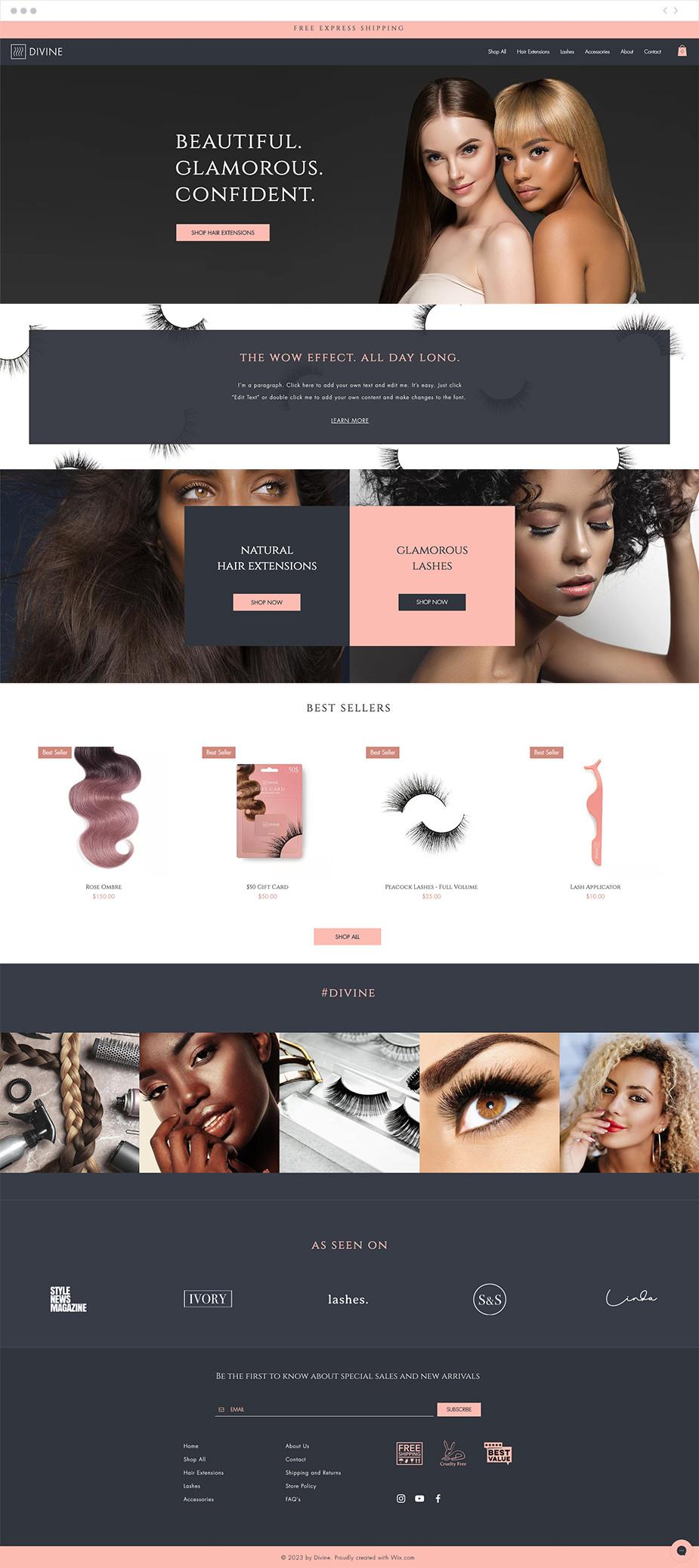 Template sito web per extension di capelli e ciglia