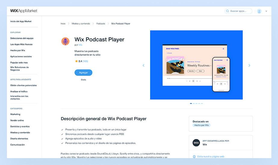 Información de la app del reproductor de podcasts de Wix