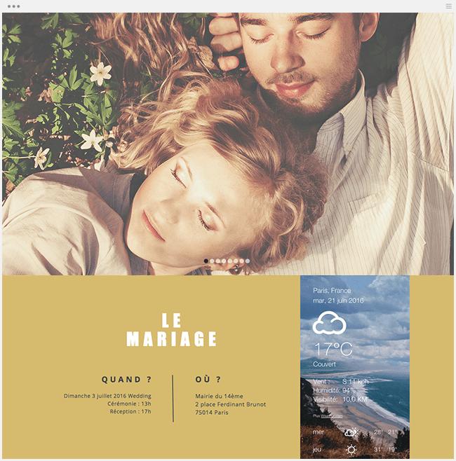 exemple de site de mariage avec détails sur le mariage