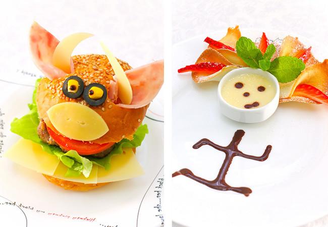 Hamburguesa con forma de monstruo y postre de chocolate y dulces con forma de niño.