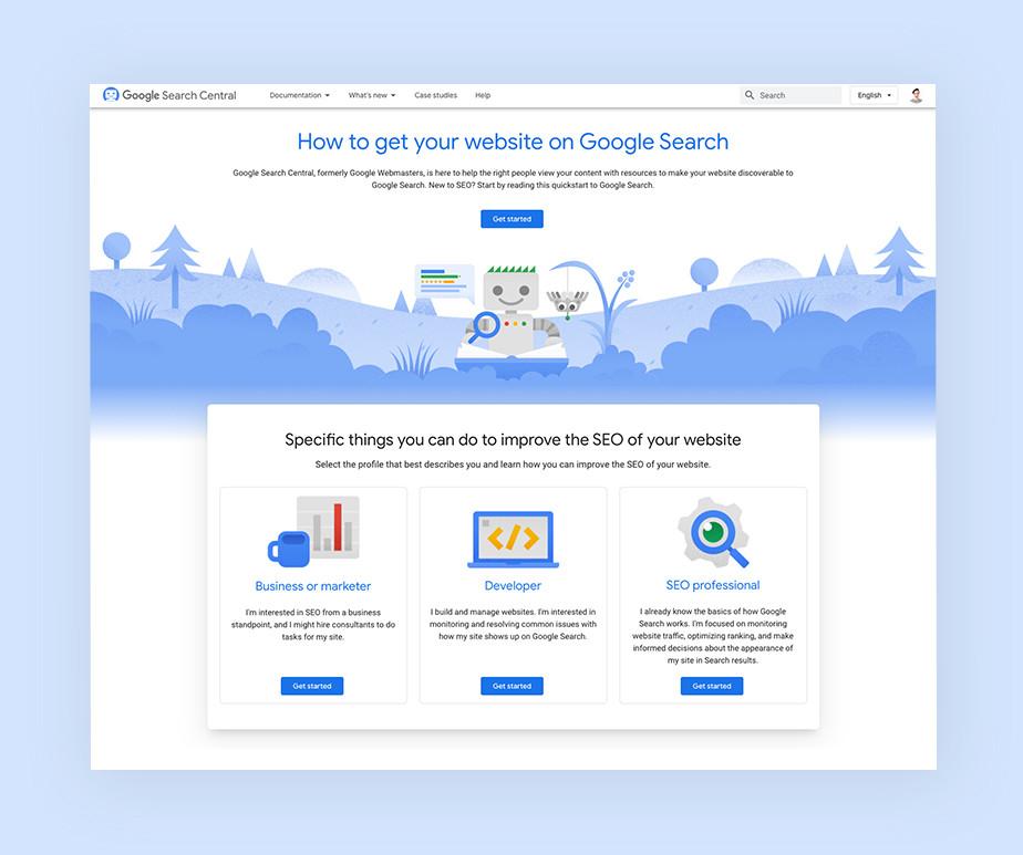 구글에 사이트를 제출할 때 나타나는 페이지