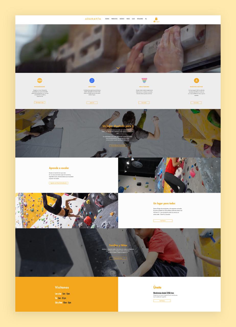 Página web de reservas de Adamanta