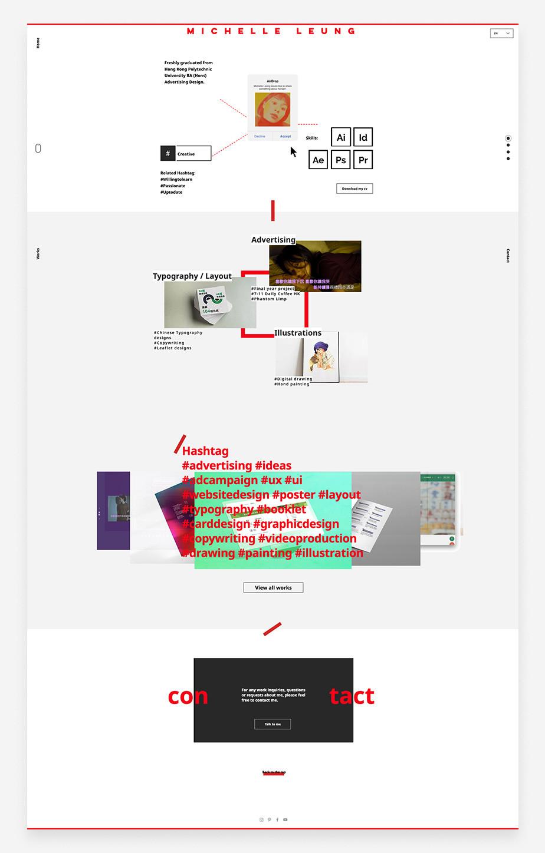 Home page del sito web di Michelle Leung