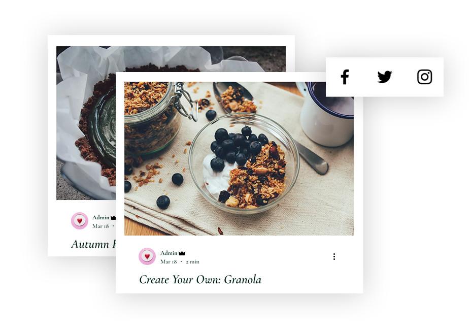 Capture d'écran d'une publication de réseaux sociaux montrant un bol de granola
