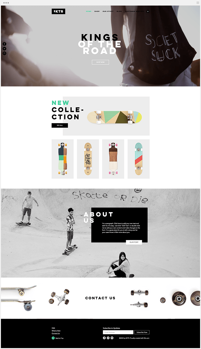 Template Wix Boutique du Skateur