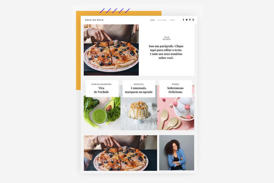 Exemplo de template de blog gastronômico