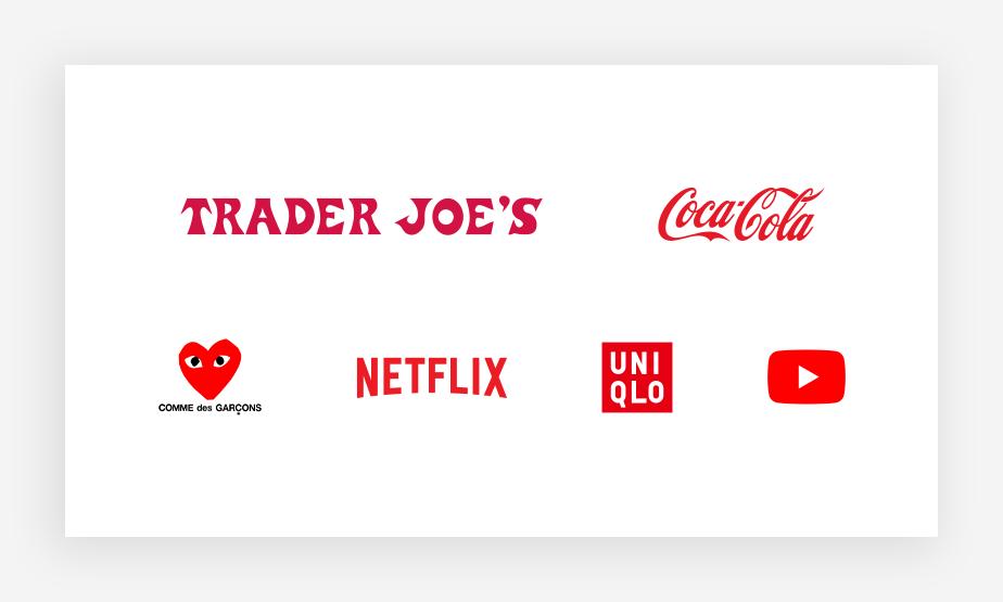 Exemplos de logos vermelhos: Trader Joe's, Coca-Cola, Comme de Garçons, Netflix, Uniqlo e Youtube