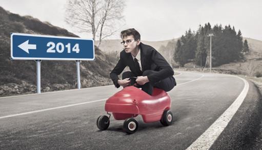 Бизнесмен на машинке едет в сторону 2014 года