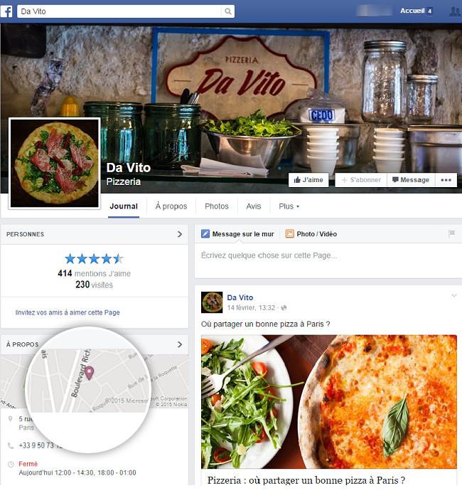 Page Facebook Pizzeria
