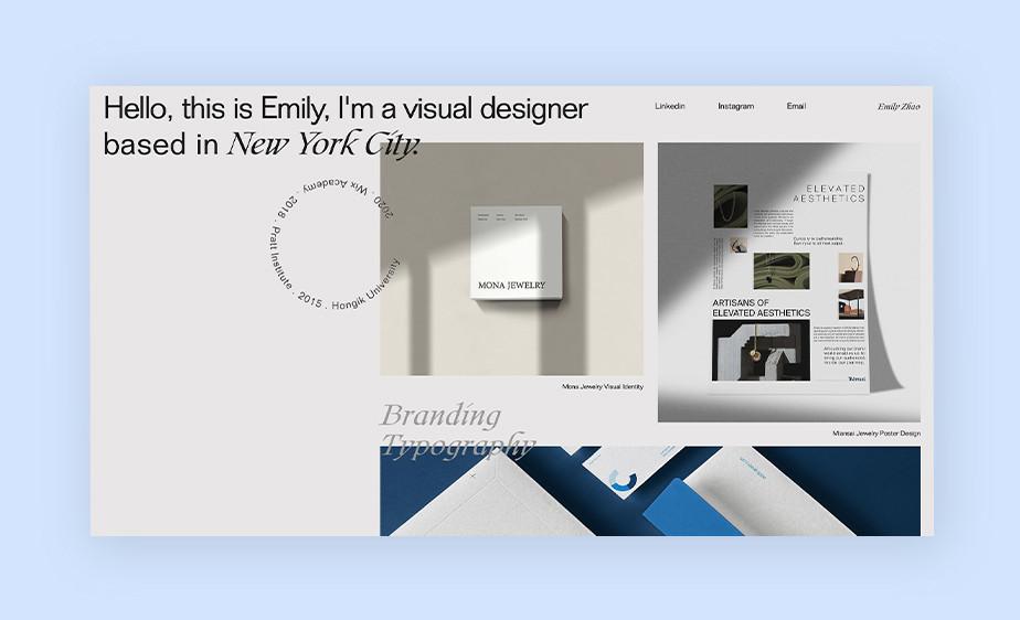 Exemplo de tendências de web design em 2021: layouts assimétricos