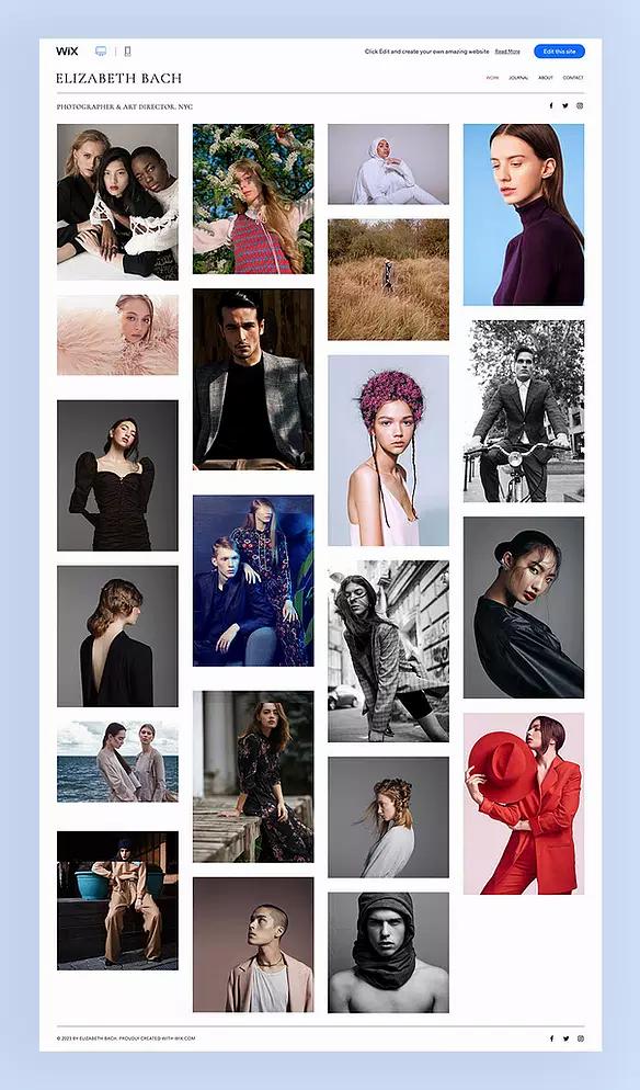 Template di siti belli creati con Wix per un fotografo di moda
