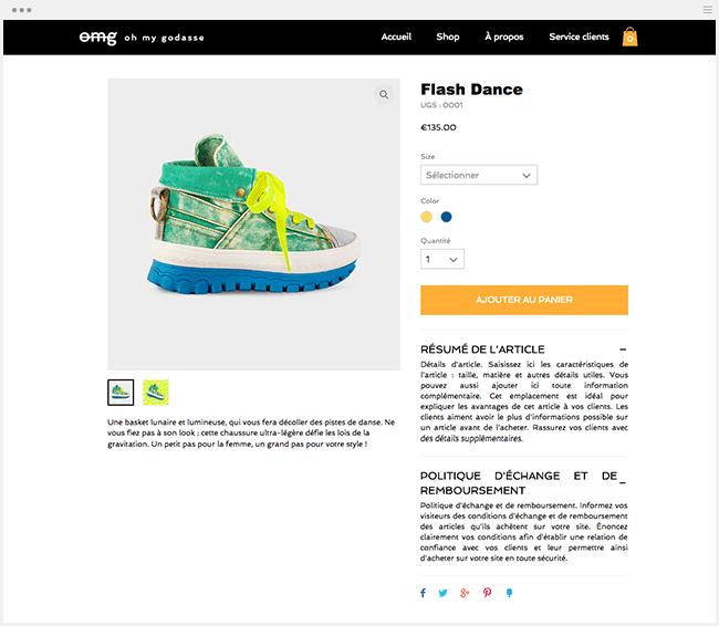 boutique ecommerce description produit wix stores