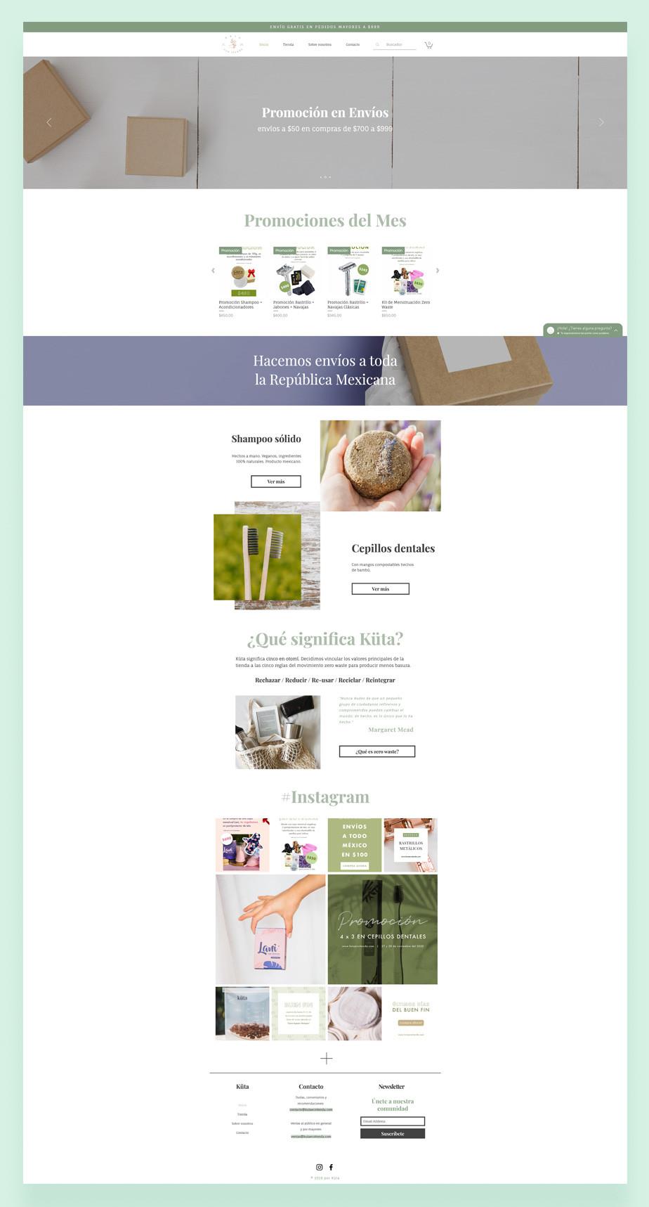 Captura de pantalla de Kuta Ecotienda como ejemplo de las mejores tiendas online ecologicas