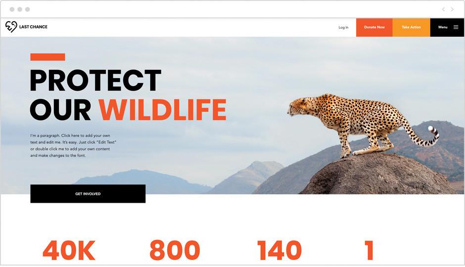 Template einer Website über Tiere als Beispiel für Website-Ideen