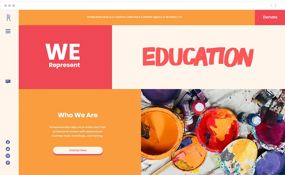 Artepreneurship nonprofit website