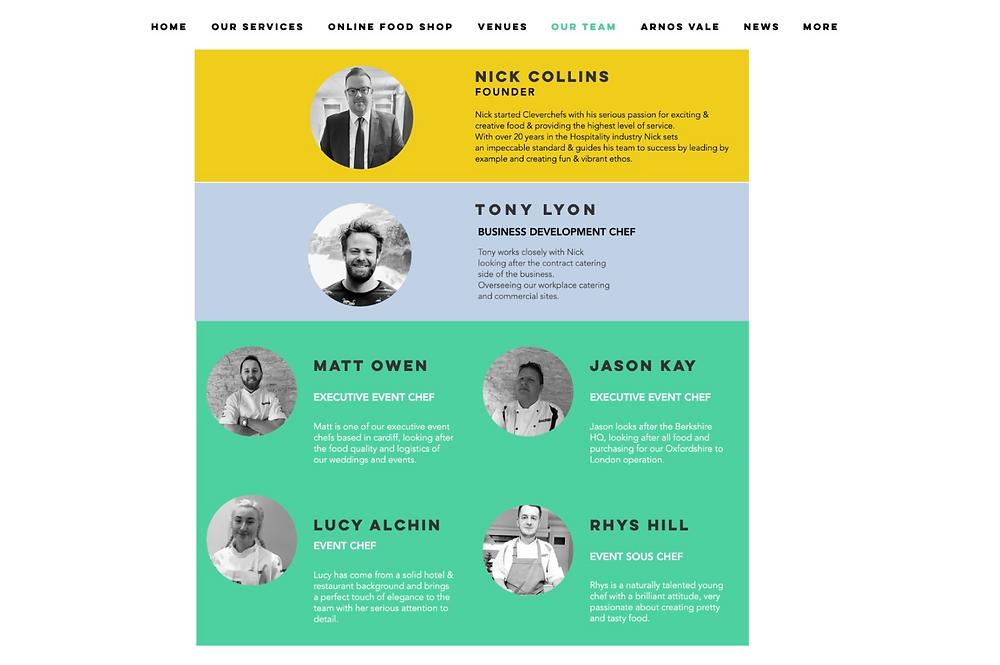 Страница с изображениями и описаниями сотрудников