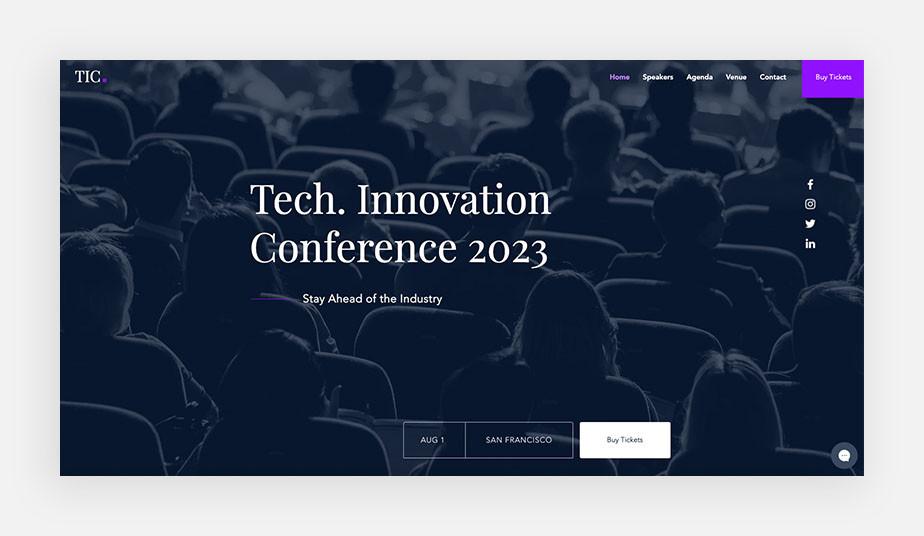 Landing page ejemplo de conferencia