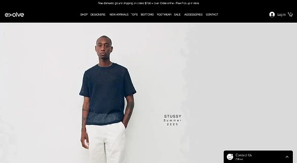 Strona sklepu Evolve Clothing Gallery
