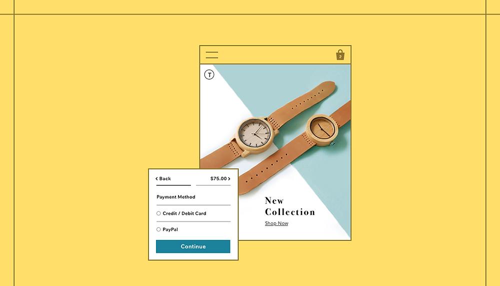 """Imagem de capa do artigo """"Como Aceitar Pagamentos Online Seguros com o Wix"""". Background da imagem em amarelo, com um mock-up de um relógio à venda em uma loja virtual ao centro."""