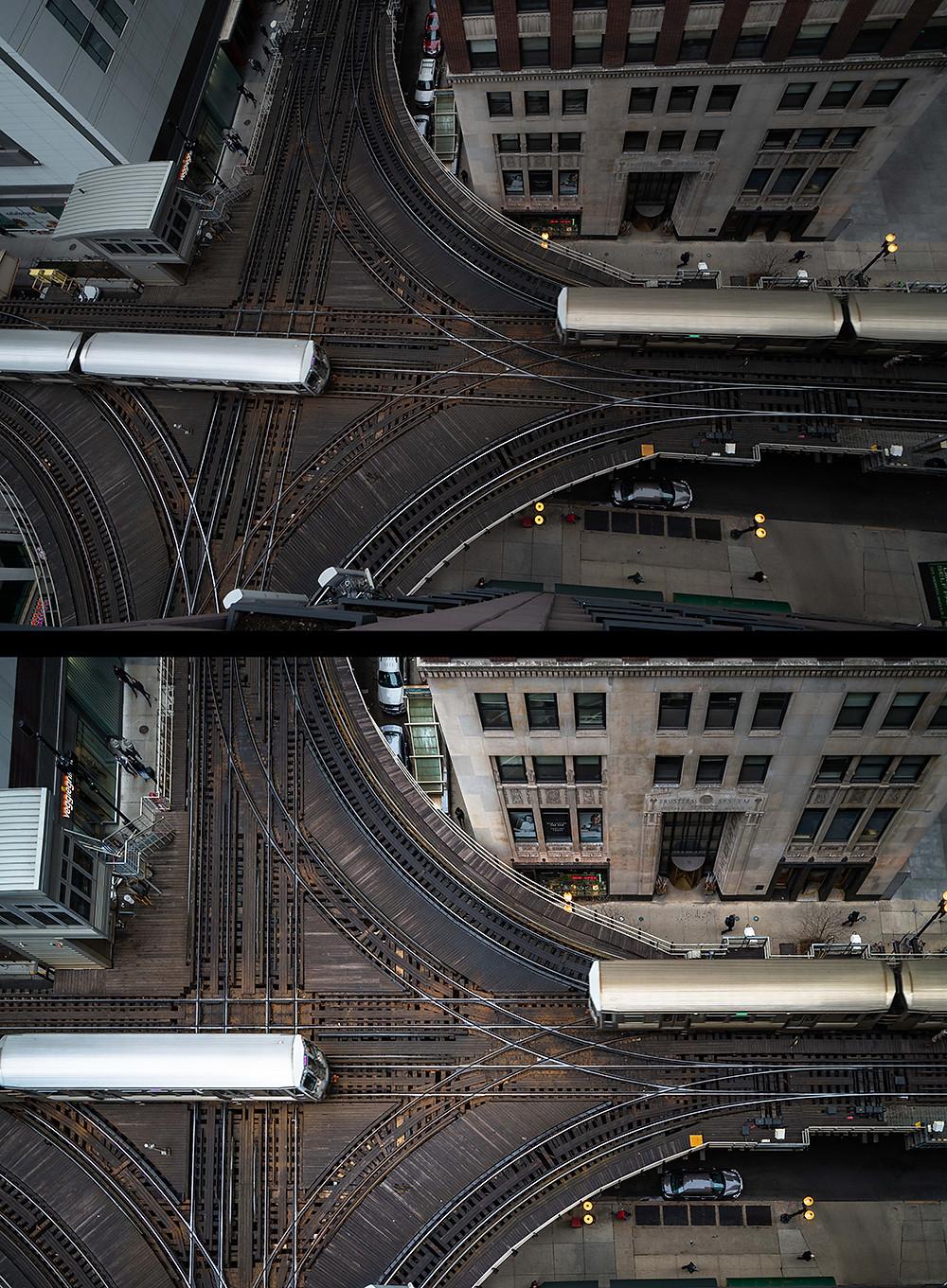 Zwei Ansichten einer Luftaufnahme von Bahngleisen in zwei verschiedenen Stadien der Bildbearbeitung
