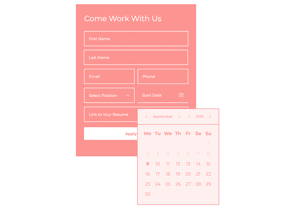 An example of an online form with a date picker