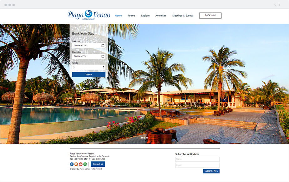 Wix Website: Playa Venao Hotel Resort