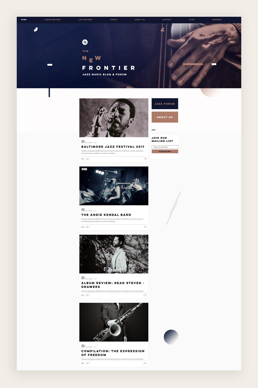Blog Template von Wix für einen Musik Blog