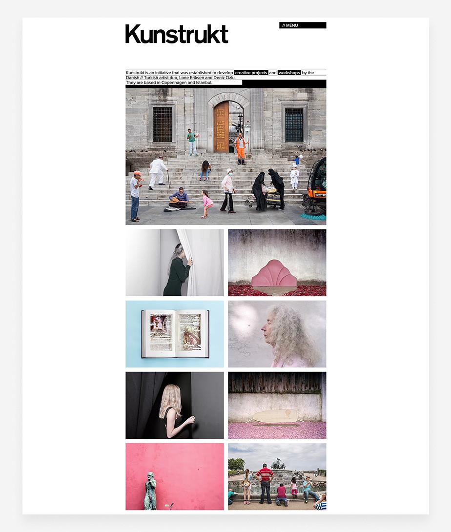 Kunstrukt sitio web creativo monocromático